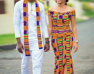 Perfect engagement attire. White ankara men's kaftans with kente and white pants to match. Ladies kaba and slit is printed kente. - Ufumbuzi - Home