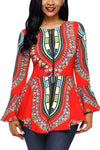 Orange African Print Zipper Front Long Sleeve Top - Ufumbuzi - Home