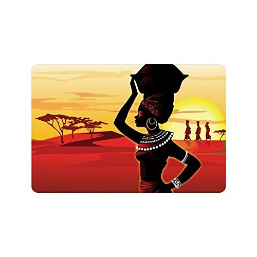 "23.6""(L) x 15.7""(W),3/16"" thickness, Oil Painting Art African Woman Non-woven Fabric Top Doormat,Indoor/Outdoor Floor Mat"