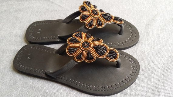 handmade brown flip flop