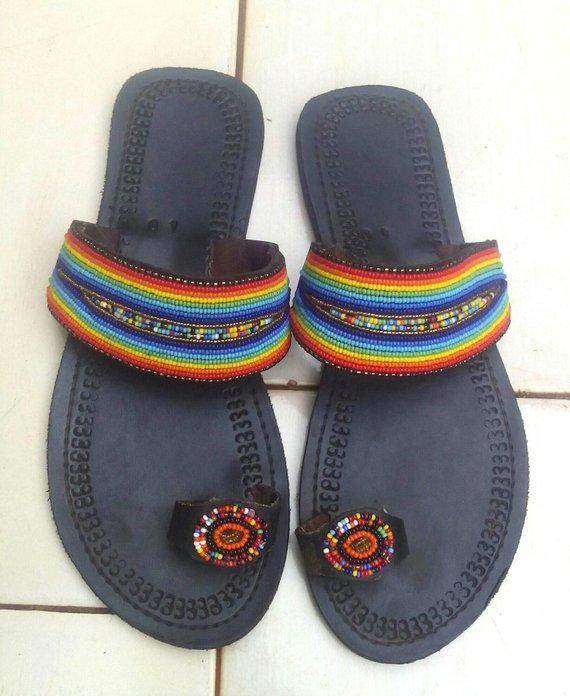 Kenyan handmade slippers, Maasai beaded slippers