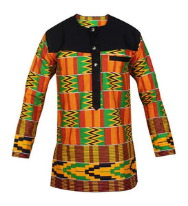 Beautiful printed kente longsleeve african men's shirt. Buttoned to mid-session with chest lined with black . - Ufumbuzi - Home