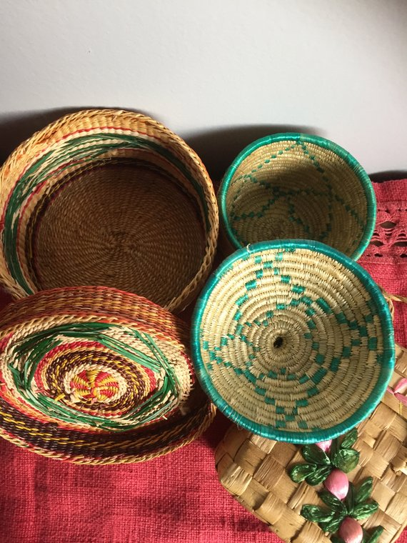 African Baskets Vintage Table decor Retro red green pink yellow Basket set west coast