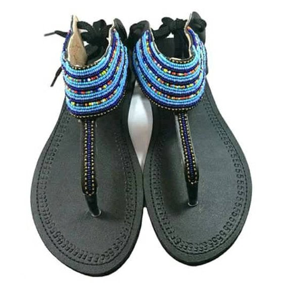 Sandals for women- Kenyan sandals- African beaded sandals- Handmade sandals