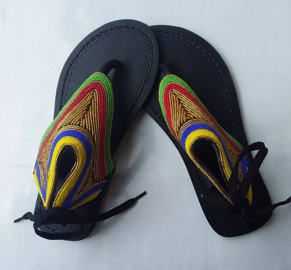 African beaded sandals _ Handcrafted sandals