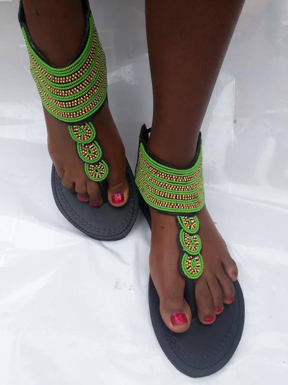 African Sandals-Leather sandals-