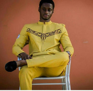 Gold African men clothing, african wear,dashiki, dashiki shirt, wedding groomsmen suit, wedding dashiki suit, African Prom Suit - Ufumbuzi - Home