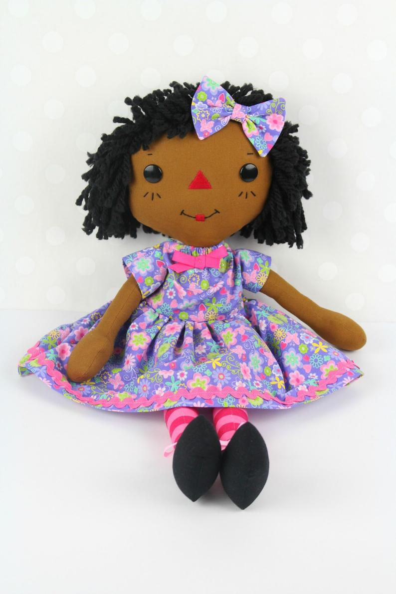 Black Doll - Raggedy Ann Doll - Personalized Rag Doll - Soft Baby Doll - Cinnamon Annie Doll - Girls Room Decor Purple - Ufumbuzi - Home