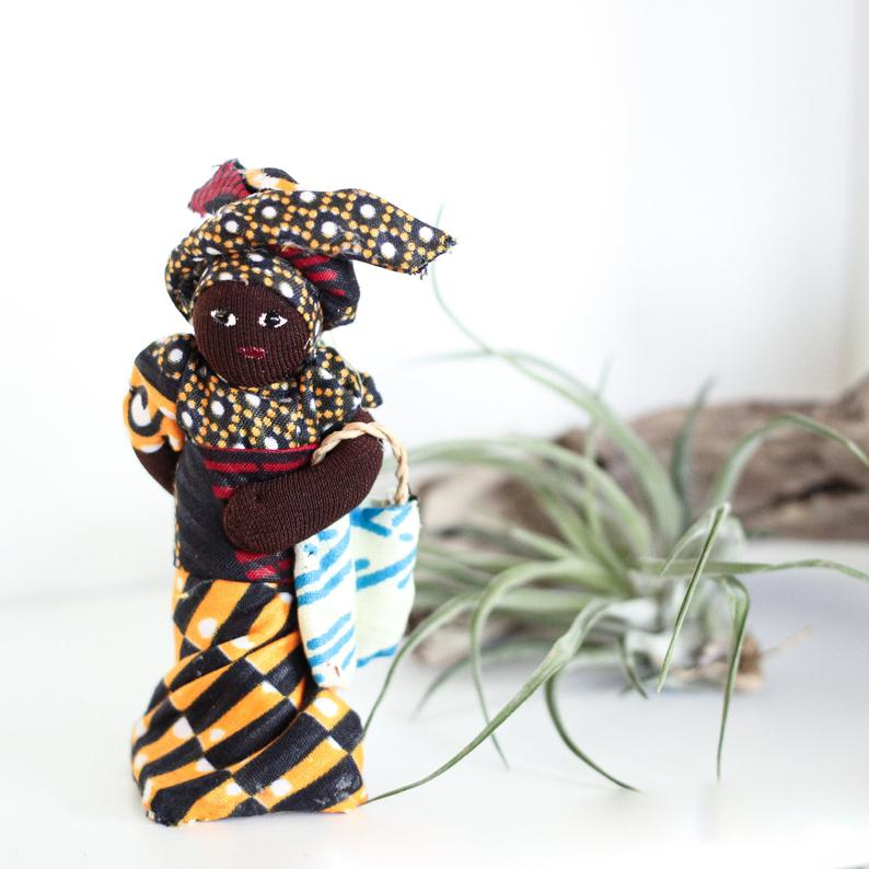 Handmade African Doll  Handcrafted 3in Fabric Dolls  African Home Decor  Free Shipping - Ufumbuzi - Home