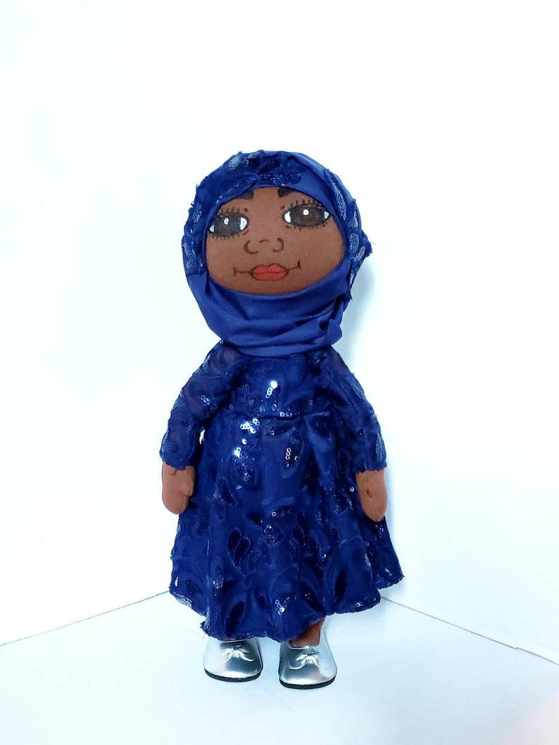 Muslin Doll, Islamic Doll, African American Doll,Pan African Doll, Skin Color Coffee, Blue dress and Hijab - Ufumbuzi - Home