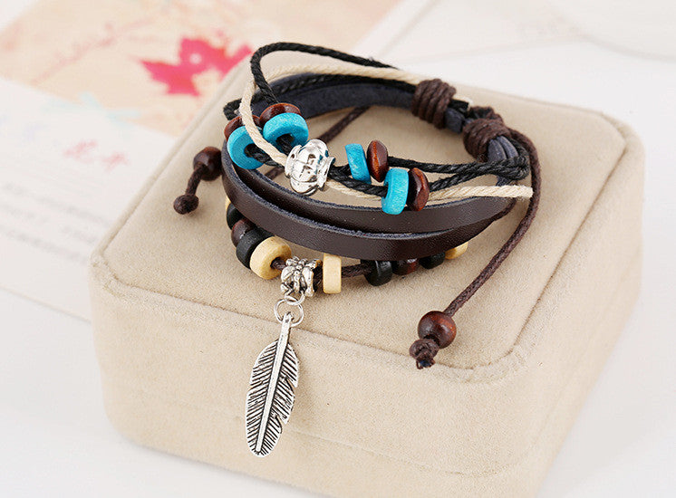 Leather Bracelet with Feathers
