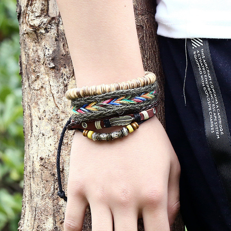 2016 Hot Selling Handmade multi-layer leather bracelet New Fashion Woven bracelets Bracelets For Christmas Gifts New Year