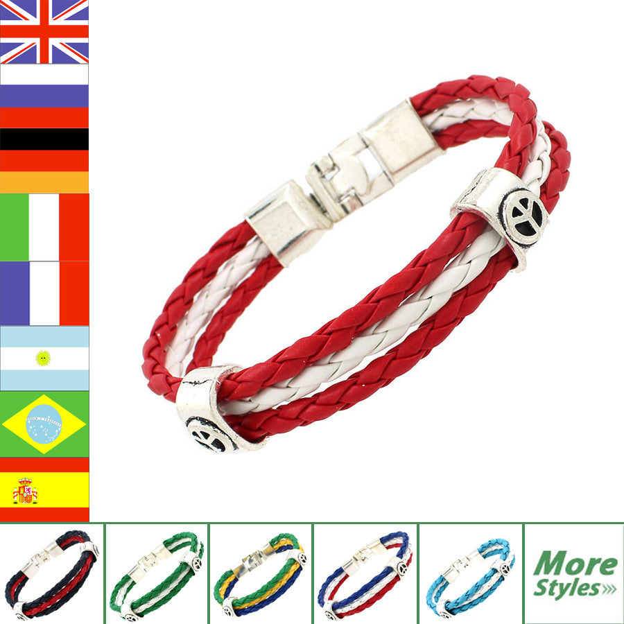 2018 World Cup National Flags Sports 3 Strands Rope Braided Surfer Leather Bracelets Fashion Men/Women Jewelry Bracelets