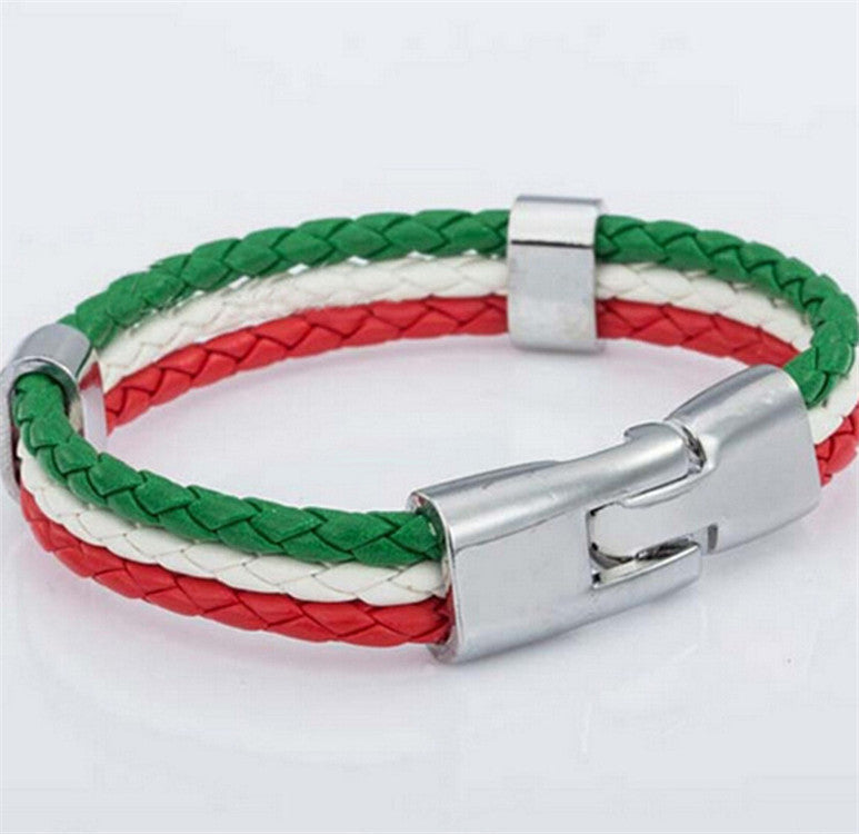 World Cup National Flags Sports 3 Strands Rope Braided Surfer Leather Bracelets Women/Men Bracelets (8inch Long)