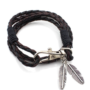 Wholesale&Retail Fashion Jewelry Vintage Key  Design PU Leather Multi-layer Woven Bracelet For Men Women Christmas Gift