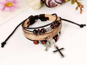 Leather Bracelet with Cross
