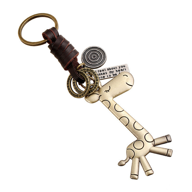 New Fashion Alloy Cute Giraffe Retro Leather Keychains For Men and Women Creative Gifts Key Chain