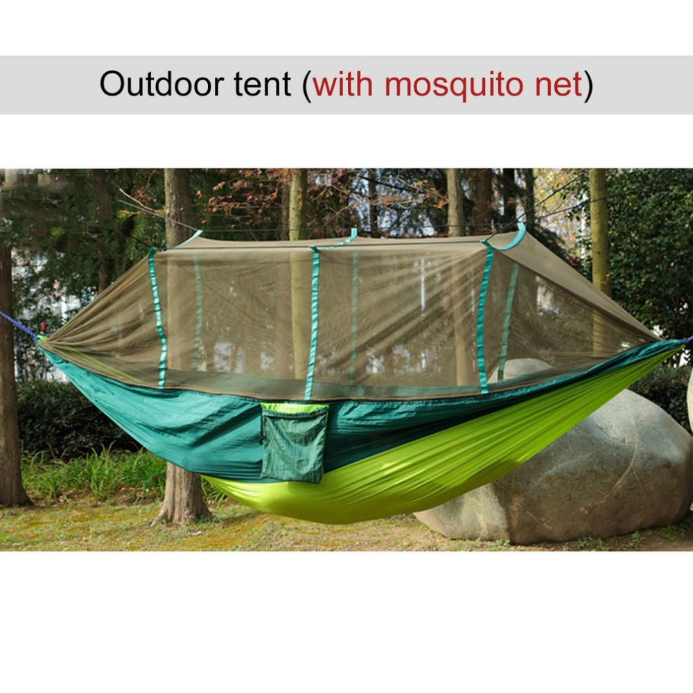 2017 Large Nylon Outdoor Hammock Parachute Cloth Fabric  Portable Camping Hammock With Mosquito Nets for 1-2 Person 260cm*130cm - Ufumbuzi - Home