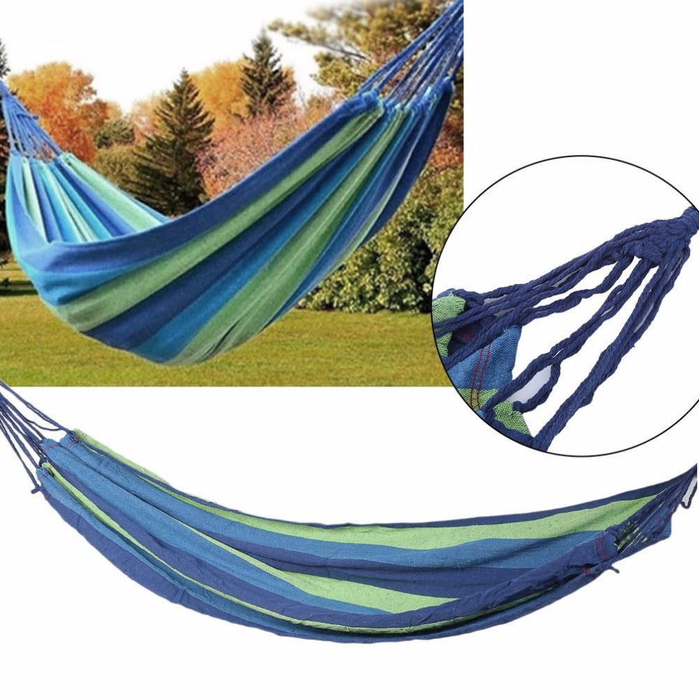 2017 Outdoor Portable Hammock Garden Sport Home Travel Camping Canvas Stripe Hang Swing Single Bed Hammock Two Colors  Available - Ufumbuzi - Home