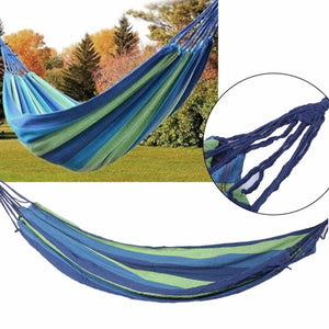 2017 Outdoor Portable Hammock Garden Sport Home Travel Camping Canvas Stripe Hang Swing Single Bed Hammock Two Colors  Available