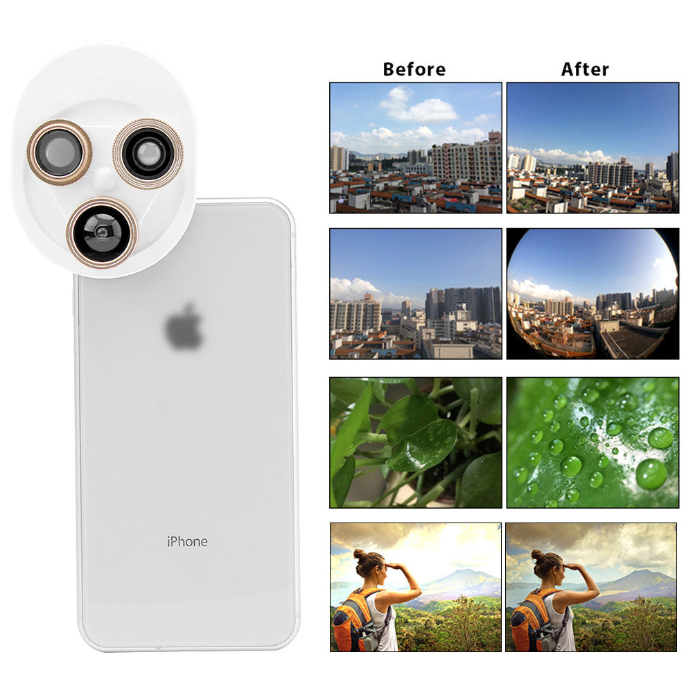 Cell Phone Camera Lens Kit 4 in 1 Clip-on Camera Lens Mobile Phone Lens Polarizer 198 ° Fish Eyes 0.63x Wide-Angle Lens + Macro Rotation Switch Universal Lens