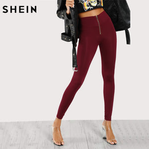 SHEIN Leggings Women Workout Clothes for Women Burgundy High Waisted Zip Front Leggings Casual Fitness Clothing - Ufumbuzi - Home