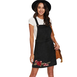 SHEIN Casual Dress Clothes Women Black Sleeveless Rose Embroidery Patch Overall Dress Floral Sheath Dresses for Women - Ufumbuzi - Home