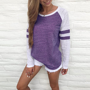 Fashion Women Ladies Long Sleeve Splice Blouse Tops Clothes T Shirt - Ufumbuzi - Home