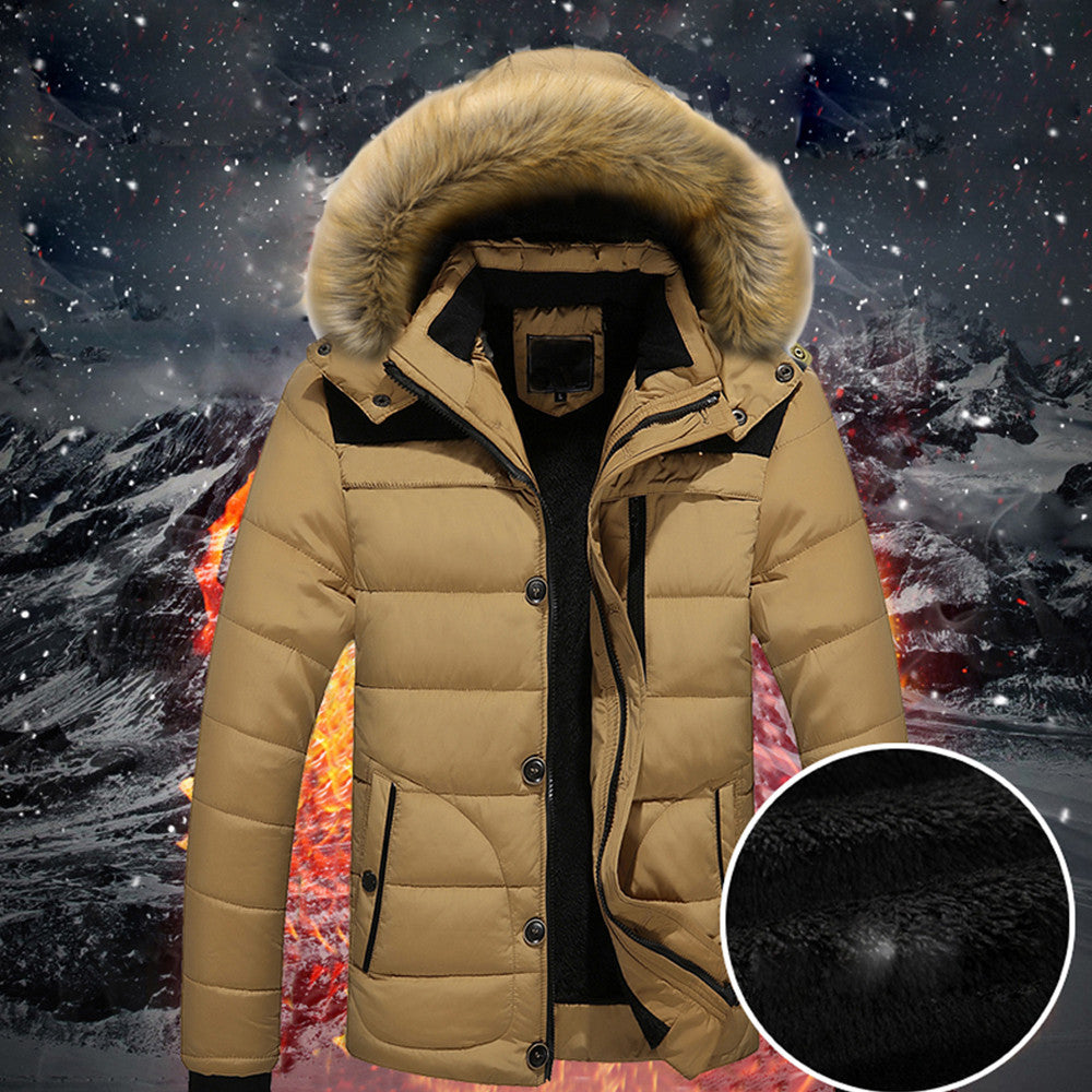 Men Outdoor Warm Winter Thick Jacket Plus Fur Hooded Coat Jacket - Ufumbuzi - Home
