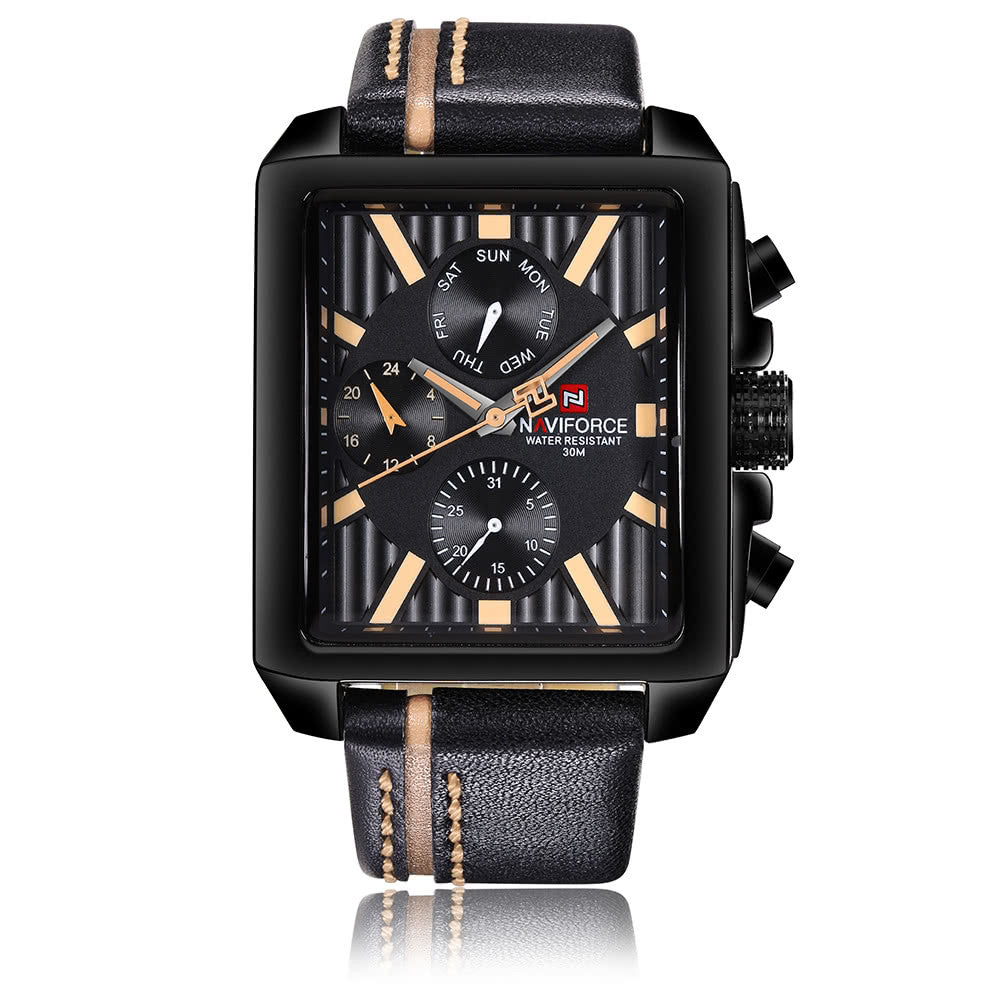 NAVIFORCE Luxury Genuine Leather Quartz Men Watch Square Dial 3ATM Water-Proof Man Casual Wristwatch with Sub-dials + Box - Ufumbuzi - Home