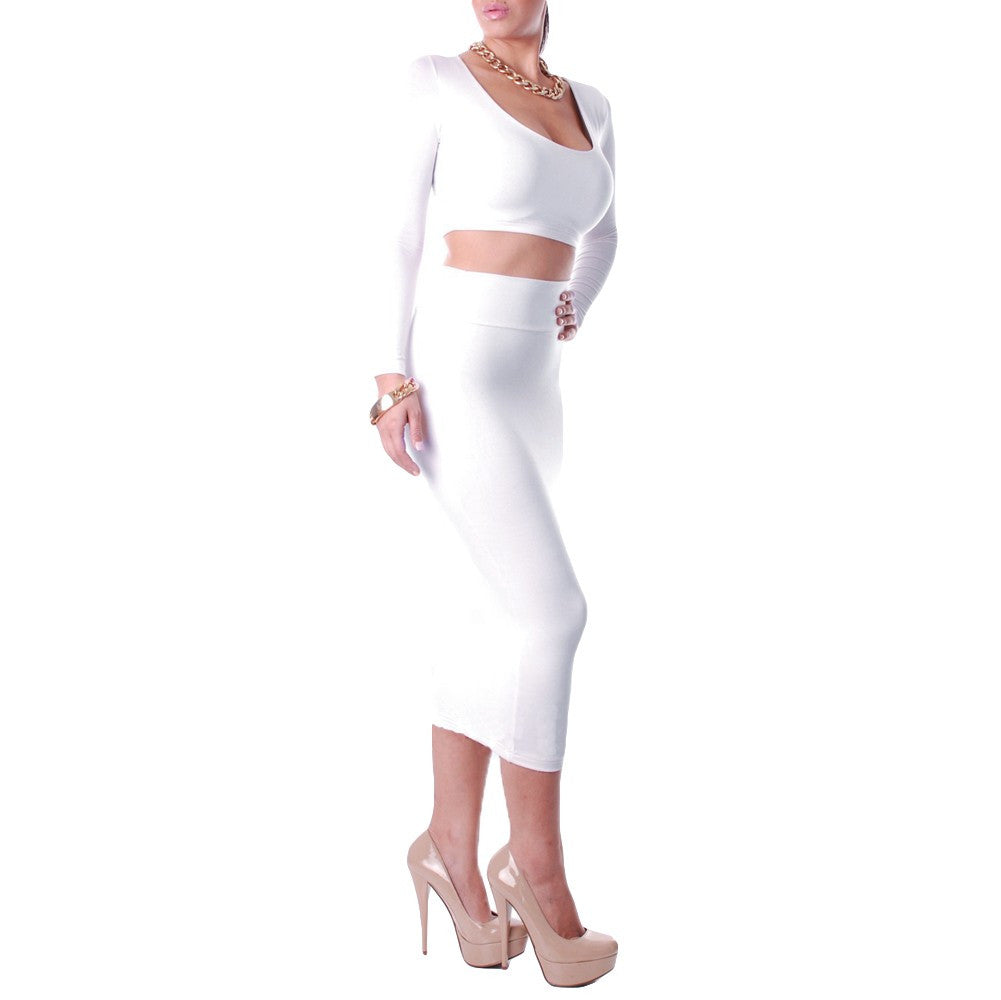 Sexy Women Two Pieces Long Sleeve Bodycon Crop Top Pencil Skirt Dress Twin Set Party Clubwear Grey - Ufumbuzi - Home