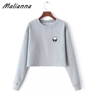 Alien Print Long Sleeve T-Shirt O-Neck Women Casual Tops 2017 Autumn Solid color mujer harajuku cute Top Tees Blusas