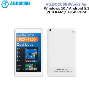 ALLDOCUBE IWork8 Air Pro 8.0 Inch Tablet PC Windows 10 Android 5.1 Intel Cherry Quad Core 1.44GHz 2GB 32GB ROM HDMI OTG Cameras - Ufumbuzi - Home