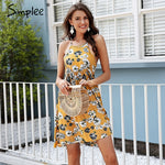 Simplee Halter floral print mini dress women Summer style casual boho dress 2018 Spring clothes beach short dress vestidos - Ufumbuzi - Home