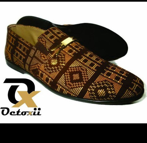 Nigerian Fabric & Beaded  Men Shoes