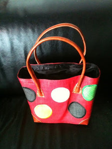 Kenyan Real Leather and Woven Hand Bag