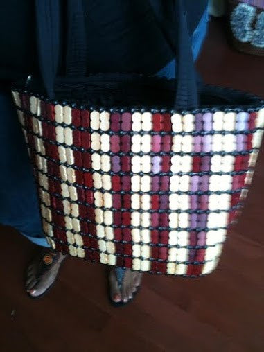 Wooden & Fabric Hand Bag