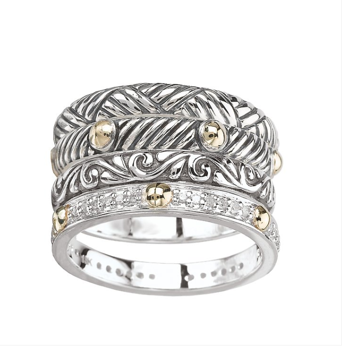 18kt Yellow Gold and Sterling Silver Stackable Ring Set