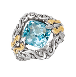 Sterling Silver Ring with a Cushion Cut 10mm Blue Topaz Center and 18kt Yellow Gold Accents