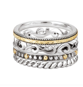 Set of 4 Stackable Rings in Sterling Silver and 18kt Yellow Gold