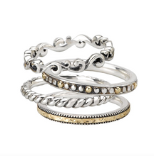 Load image into Gallery viewer, Set of 4 Stackable Rings in Sterling Silver and 18kt Yellow Gold