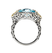 Load image into Gallery viewer, Sterling Silver Ring with a Cushion Cut 10mm Blue Topaz Center and 18kt Yellow Gold Accents