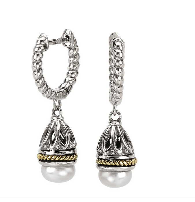Sterling Silver Dangle Earrings with a Freshwater Pearl Center and 18kt Yellow Gold Twisted Rope