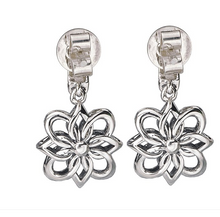 Load image into Gallery viewer, Eleganza Flower Design Dangle Earrings in Sterling Silver and 18kt Yellow Gold Accents