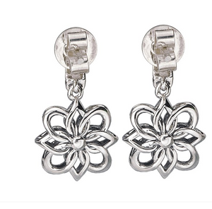 Eleganza Flower Design Dangle Earrings in Sterling Silver and 18kt Yellow Gold Accents