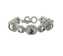 Load image into Gallery viewer, Eleganza Green Amethyst Link Bracelet in Sterling Silver