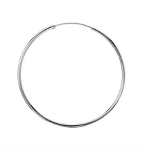 Load image into Gallery viewer, Sterling Silver Rhodium Plated 45mm Plain Round 2.1mm Hoop Earrings