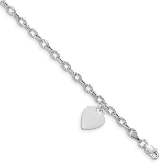 14k White Gold Dangle Heart Bracelet