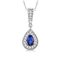 Load image into Gallery viewer, Pear Shape Sapphire Gemstone & Diamond Pendant