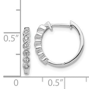 Sterling Silver CZ 52 Stones In And Out Round Hoop Earrings